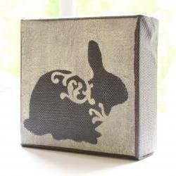 Bunny in Pale Yellow- 4x4 Art Block