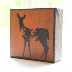 Deer in Burnt Orange- 4x4 Art Block